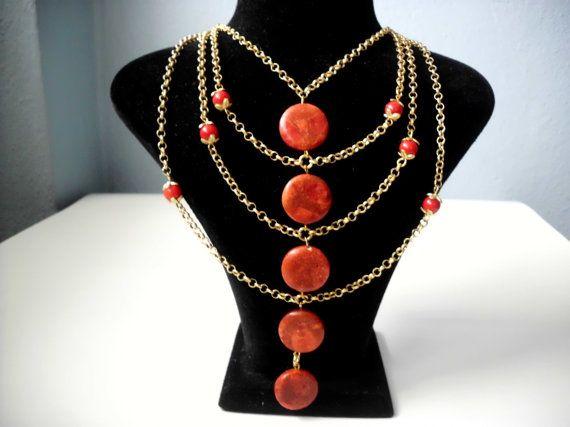 Coral necklace/Necklace/Coral/Chain necklace/Coral stone necklace