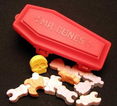 Back in the Day. I remember these candy skeletons, but I had forgotten all about them. Assemble the skeleton, then eat it.