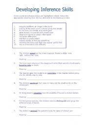 English worksheet: Developing Inference Skills