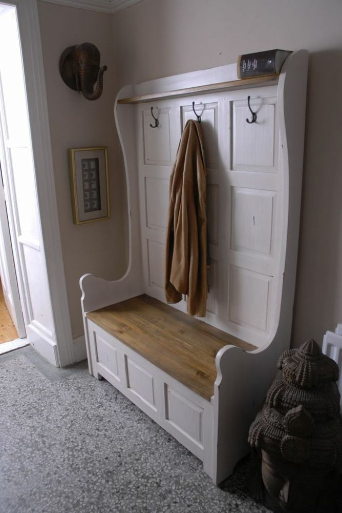 Provence Painted Pine Three Seater Monks Bench - would be good by entrance.