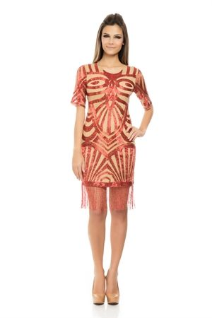 Vestido Bordado Franjas Vermelho Japonês - sale-iorane-f-vestido-bordado-franjas-vermelho-japones Iorane