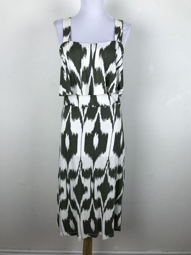Ann Taylor Loft Dress Size L Green White Ikat Print Strappy Viscose Casual  #AnnTaylorLOFT #Casual