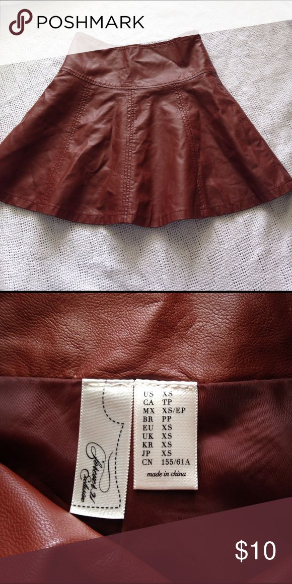 Brown faux leather skater skirt Forever 21 brown faux leather skater skirt, side zipper, lined, size XS, EUC. Forever 21 Skirts Circle & Skater