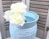 Vintage bath decor,  Waste basket, trash can, vase, vintage waste can, shabby chic decor,Aqua, metal can, metal urn, modern farmhouse