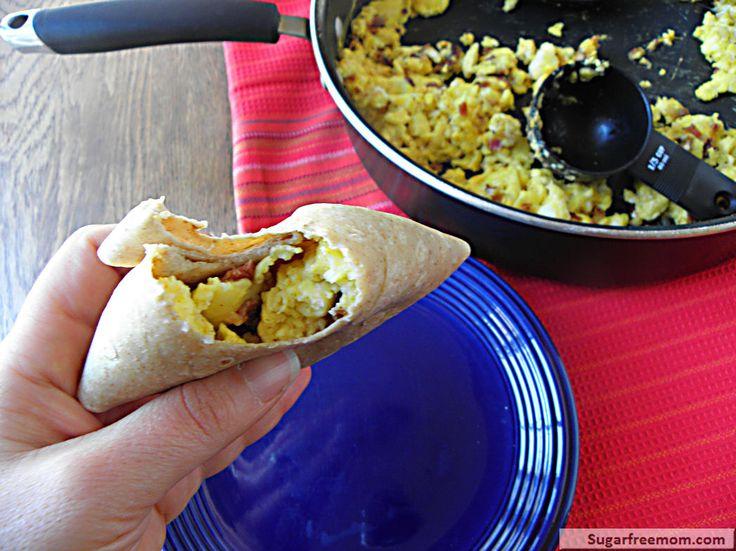 Low Calorie Freezer Friendly Bacon Egg Burritos | SugarFreeMom.com