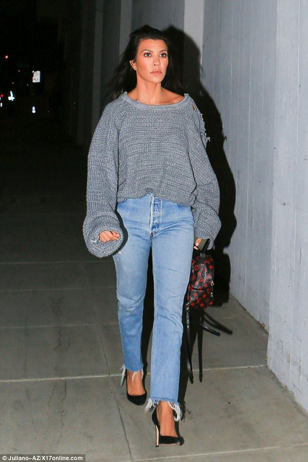 Casual chic: Kourtney Kardashian met up with some of her close friends at a church in Holl...