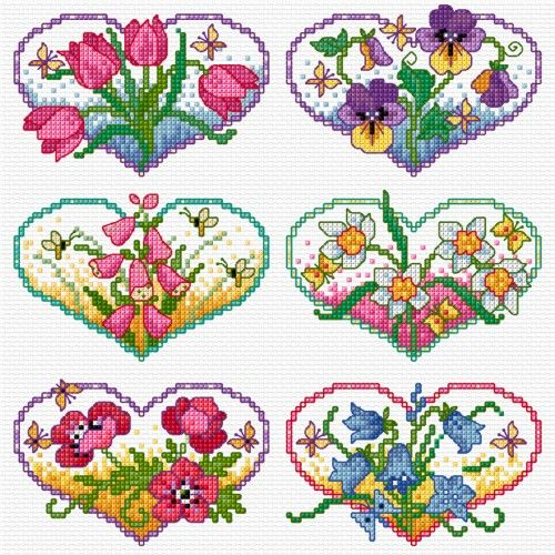 LJT093 Floral hearts | Lesley Teare Needlework and Cross Stitch Chart Designs