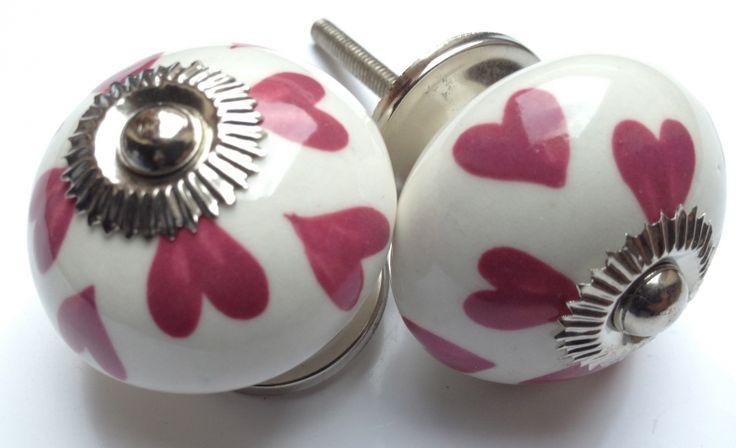 191 Wit deurknopje met roze hartjes deurknoppen