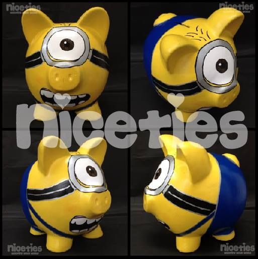 Love minion carl poink, favorite art best piggybank handmade Alcancías hechas a mano