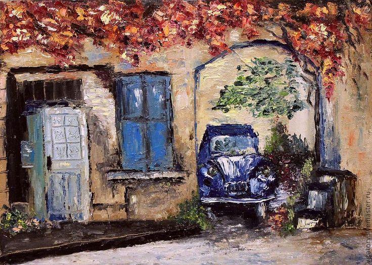 "Картина масло ""Английский дворик"" - бежевый,английский дворик,синий автомобиль"
