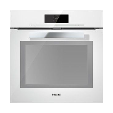 White fronted oven to match your kitchen means you don't break up the sleek pure look. available from Miele.
