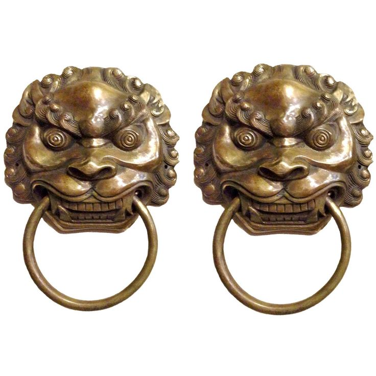 Pair of Large Chinese Brass Lion Door Knockers or Towel Rings | From a unique collection of antique and modern metalwork at https://www.1stdibs.com/furniture/asian-art-furniture/metalwork/