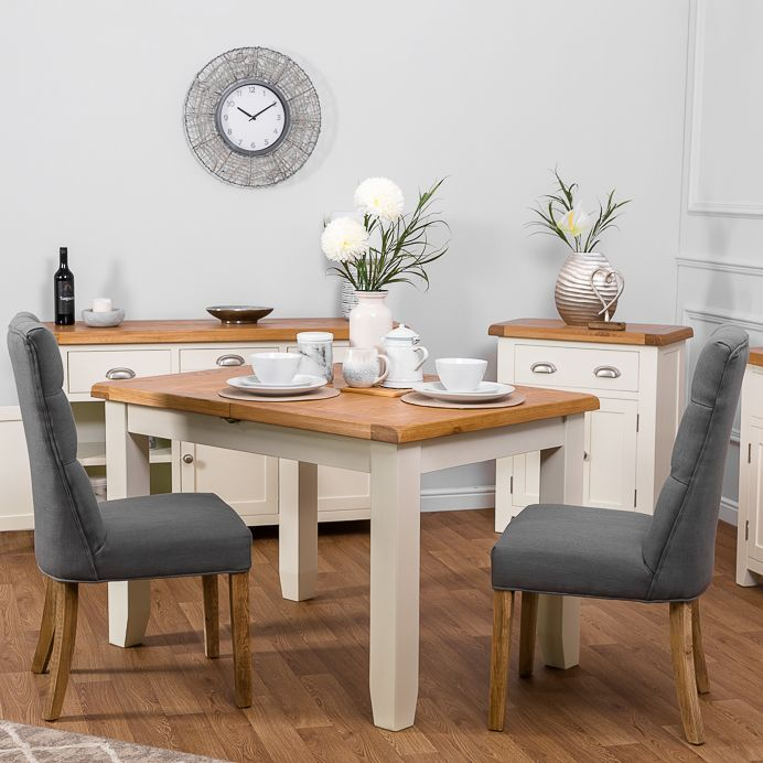Hampshire Ivory Painted Oak Small Extending Dining Table Classic Dining Room Extendable Dining Table Dining Table