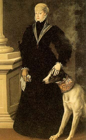 1554 Anthonis Mor ((1519-1575) Metgen, the Artist's Wife dog with amazing collar