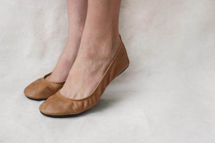 Wheat - Handmade Leather ballet flat shoes -  CUSTOM FIT. $90.00, via Etsy.