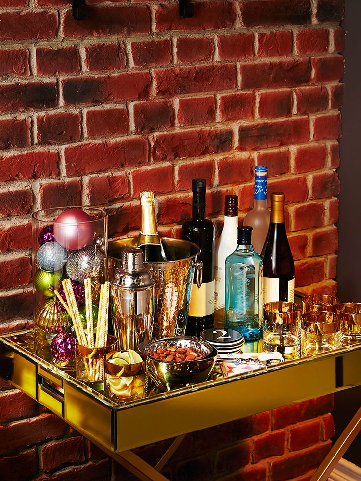 Bar Cart Styling Tips #HelloYellowHoliday #LeonsHelloHoliday