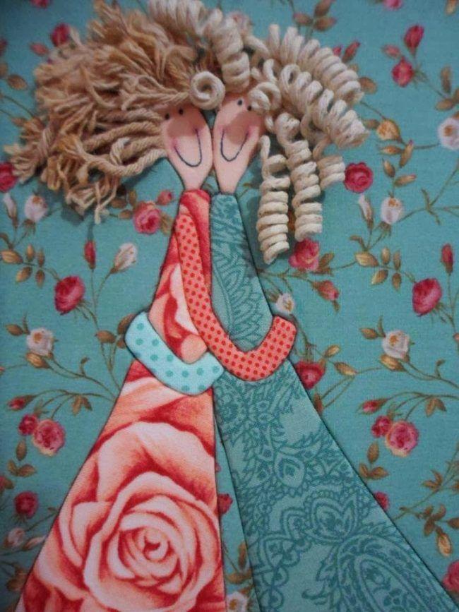 Картина из лоскутов с добавлением вязальних ниток