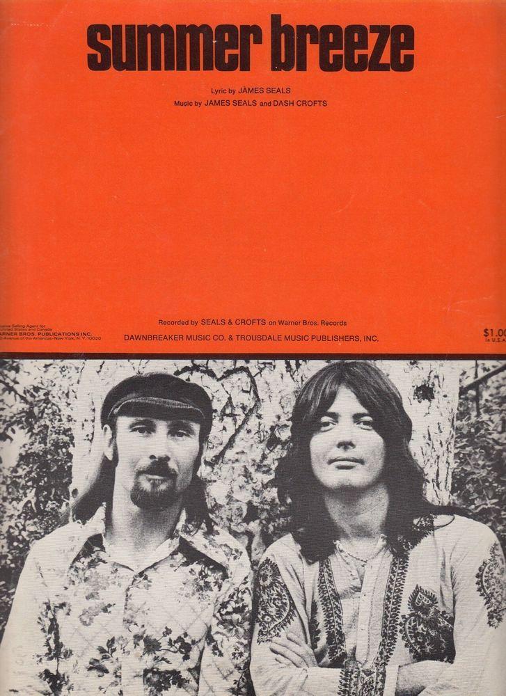 Summer Breeze 1972 Sheet Music James Seals and Dash Crofts