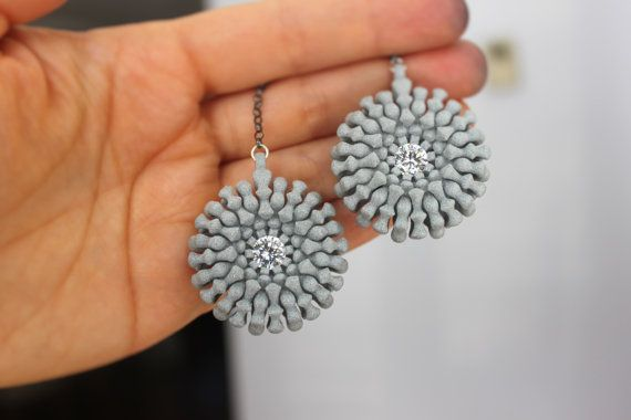 Grey long earrings with white Swarovski cubic zirconia. by kormar