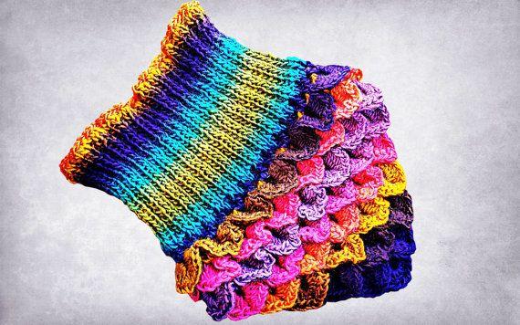 Rainbow Crocodile Stitch Neck Warmer Triangle by SimArtShop