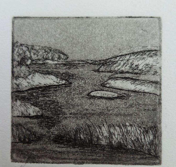 Original Fine Art Etching, Marsh by papermaker on Etsy