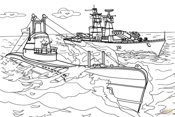 Click The Submarine And Warship Coloring Pages To View