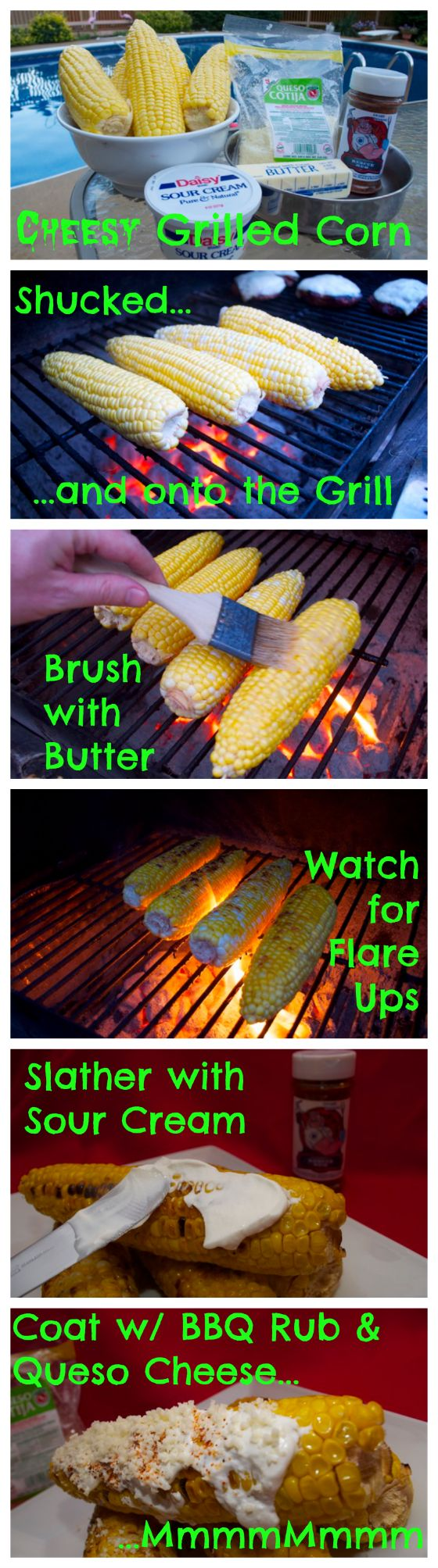 Stop boiling the corn. It leaches flavor out of the corn and puts it into the water. Grill it. And then slather it with sour cream, BBQ rub and queso cheese! By far the best corn I have ever had!