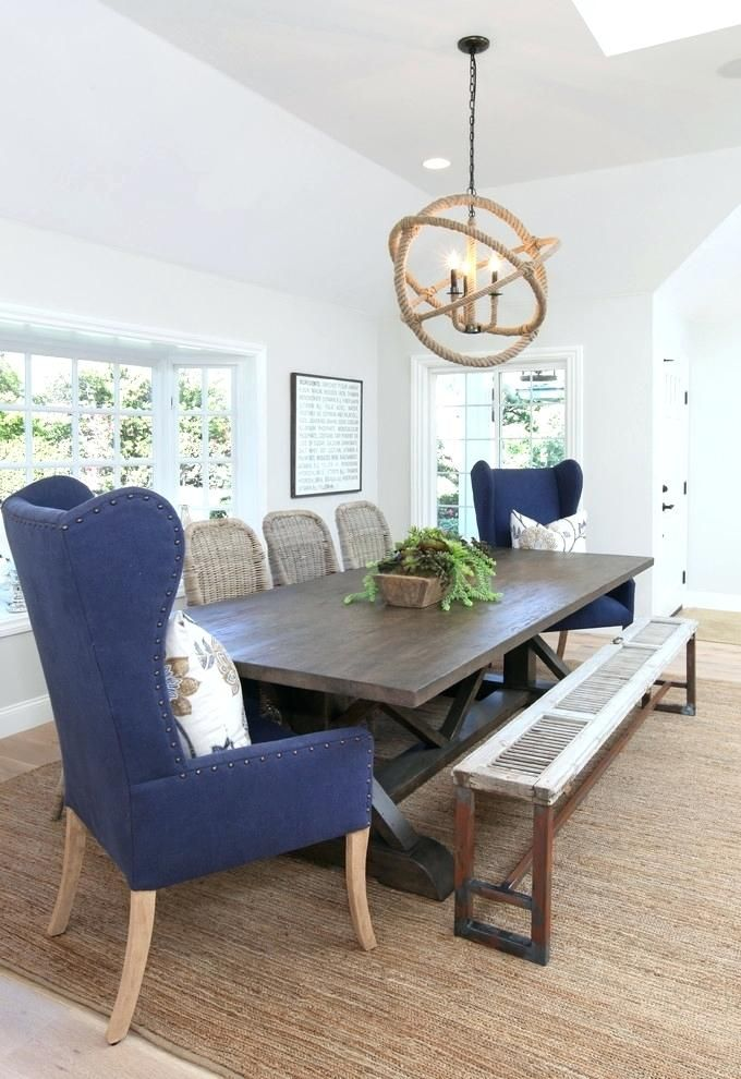 Fancy Wingback Bench Dining Room Table, Wingback Dining Room Chairs