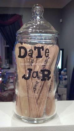 A DATE JAR!! great for anniversary or valentines or Christmas!  Creating Virginia Anne: DAY 17: Present Idea - DIY Date jar   www.creatingvirginiaanne.blogspot.com