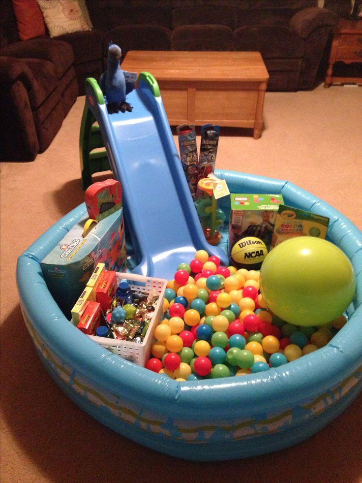 Easter basket pool with slide.