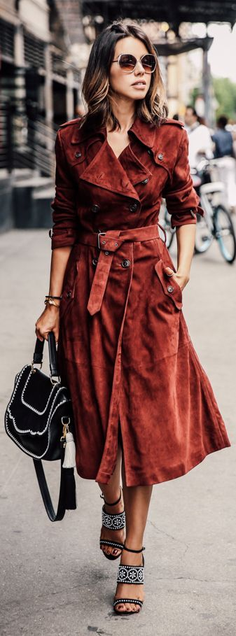 Rust Suede Trench at NYFW.