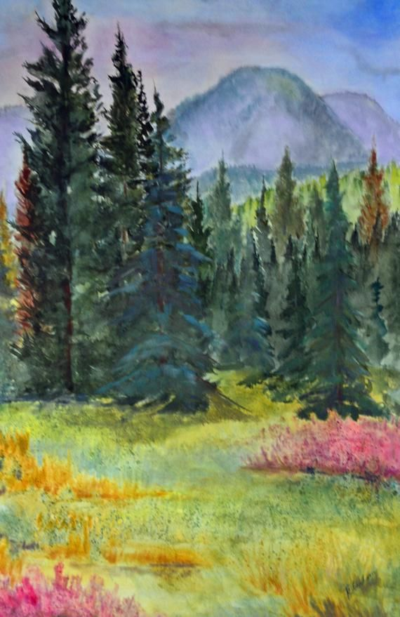 Colorado Landscape Forest Painting Mixed Media Watercolor And Pastel Fine Art Painting Forest Art Landscape Paintings Fine Art Landscape Forest Painting