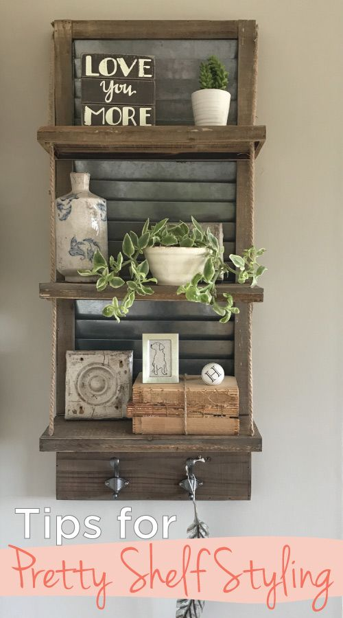 Looking for how to style your shelves pretty? Look no further! #shelfie #shelfstyle #howtodecorateshelves #shelves #shelfdecorating