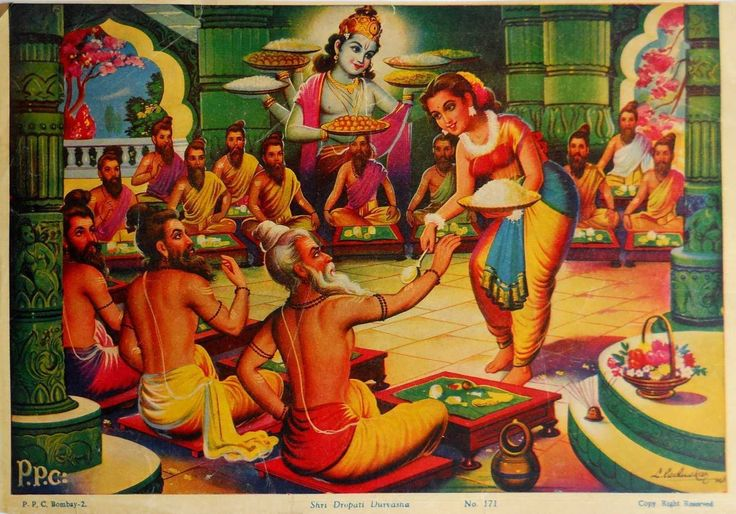 Krishna's help enables Draupadi to serve Durvasa and ten thousand sages, who had been sent by Duryodhana to test the Pandavas' hospitality in the forest.