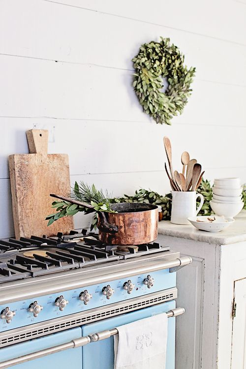 Blue stove oven