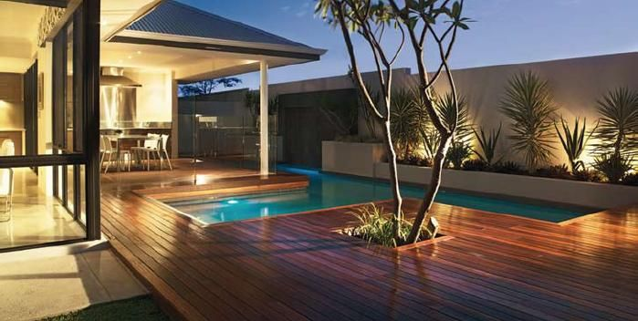 Featured. Brown Wooden Decks for Indoor and Outdoor Design: Captivating Hard Wooden Decking Design Ideas For Outdoor Living Space Featuring Swimming Pool Ideas ~ wegli