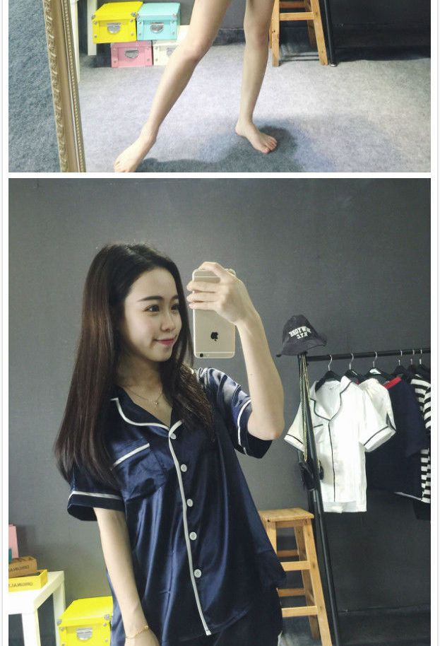 Membeli Glen Glam Set: Kontras Potong Pendek Lengan Pajama Shirt + Shorts   YesStyle