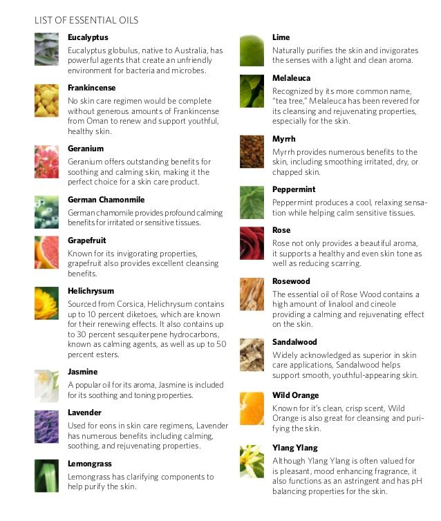essential oils chart properties and relationship