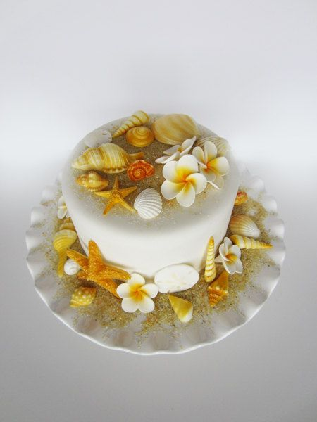 edible sea shells with plumerias set of 34 shells by sweetbouquet, $58.00