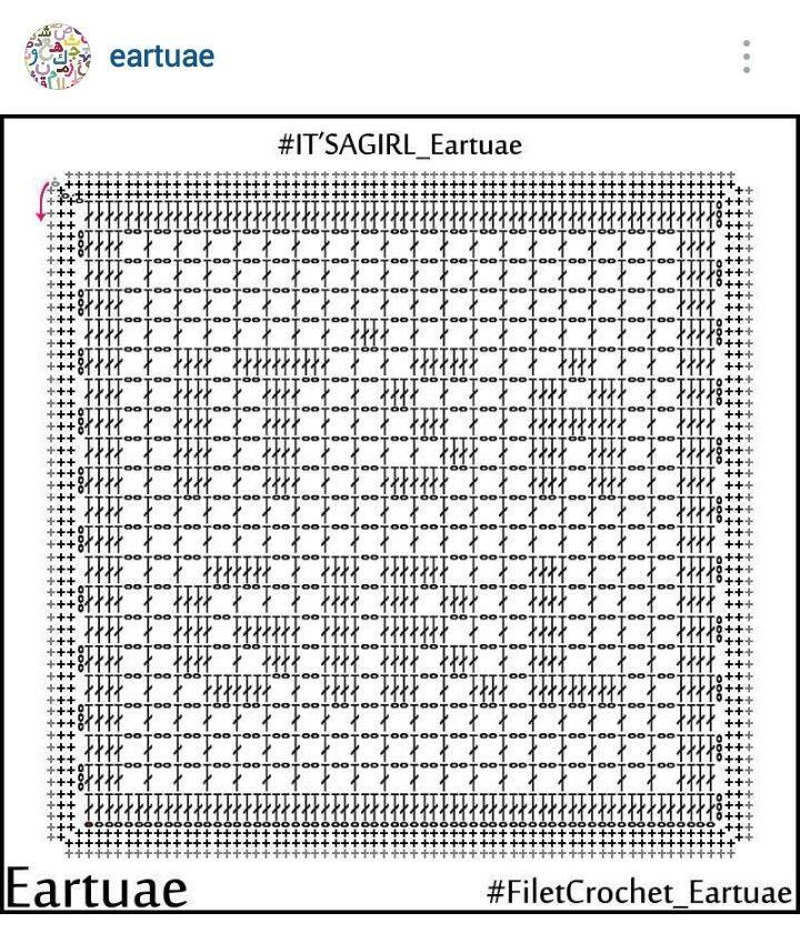 """Instagram @eartuae - filet crochet """"it's a girl"""""""