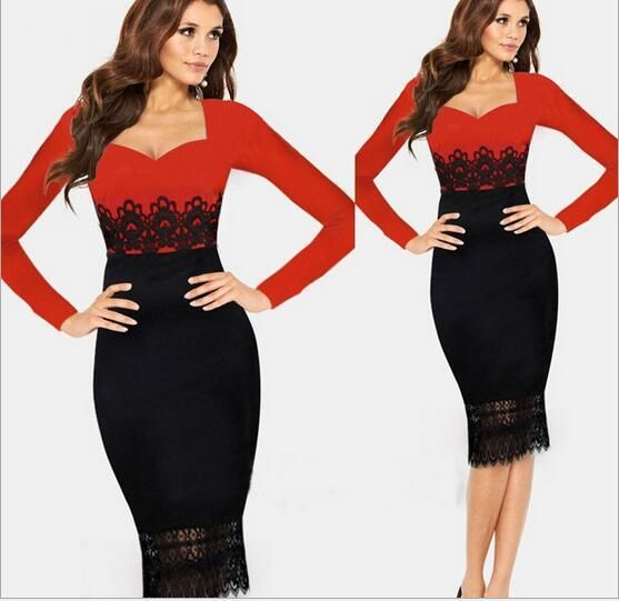 Shop Work Dresses Online, New Red Black Casual Dress Women Tunic Bodycon Ol Lace Patchwork Ladies Dress Elegant Vintage Long Sleeve Winter Dress Plus Size My 036 With As Cheap As $23.97 Piece | Dhgate.Com