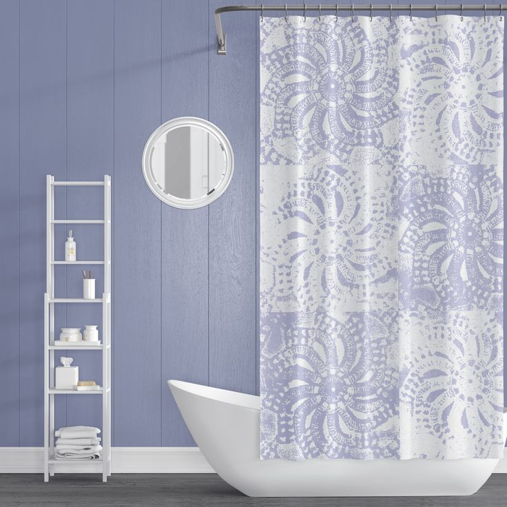 Periwinkle And White Lace Mandala Shower Curtain Apartment