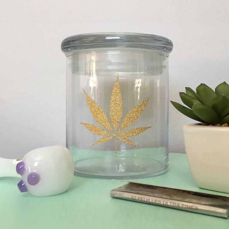Glass Stash Jar | Gold Glitter Leaf | Girly Stash Jar by HighlyCreativeCA on Etsy https://www.etsy.com/ca/listing/570311148/glass-stash-jar-gold-glitter-leaf-girly