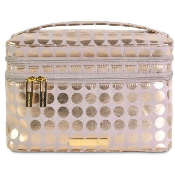 Tartan  Twine Dots Double Zip Train Case (44.785 COP) ❤ liked on Polyvore featuring beauty products, beauty accessories, bags & cases, beauty and dots