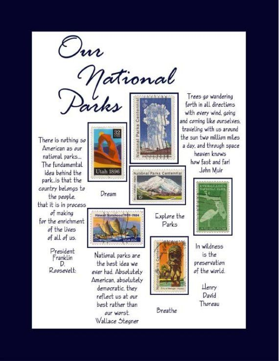 OUR NATIONAL PARKS STAMP ARTWORK inspired by by PushinTheEnvelope, $12.95