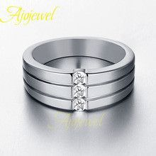 Ajojewel brand 18k plated white gold wedding ring men CZ diamond male jewelry fashionable (US size 8910)