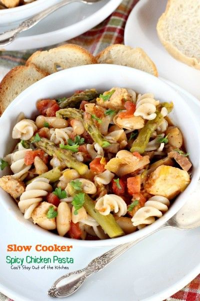 Slow Cooker Spicy Chicken Pasta - Can't Stay Out of the Kitchen