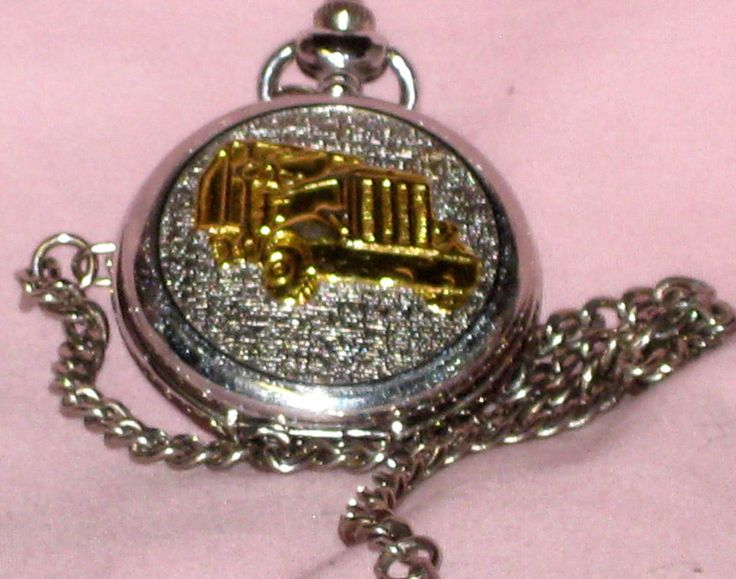 "BENRUS Pocket Watch- Battery Operated- w/ SEMI-TRUCK  on the Cover ""NEVER USED"" #Benrus"