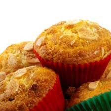#Muffins aux pêches, garniture croquante aux #amandes