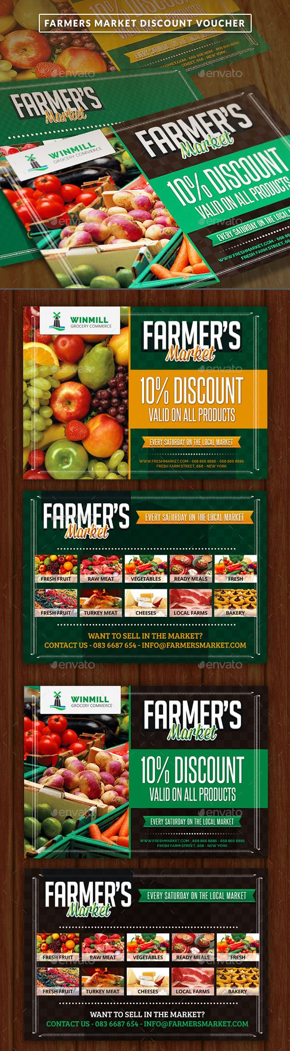 Farmer's Market Commerce Discount Voucher Template #design Download: http://graphicriver.net/item/farmers-market-commerce-discount-voucher/12156198?ref=ksioks